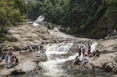 Chamang Waterfall, Bentong, Malaysia. Bentong, Malaysia - July 18, 2015: Tourists enjoying the bliss of Chamang waterfall in Pahang during long seasonal holiday Stock Photography