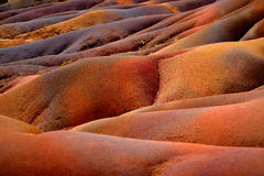 Chamarel在毛里求斯的七色的地球 库存照片