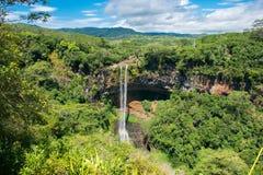 Chamarel瀑布,毛里求斯海岛 免版税库存照片