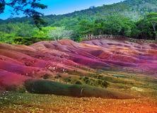 Chamarel-七颜色土地。毛里求斯的主要视域 免版税库存照片