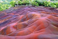 Chamarel (Mauritius). Seven Coloured Earths of Chamarel (Mauritius), created due to volcanic activity and different cooling times stock images
