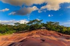 Chamarel - sete terras coloridas na ilha de Maurícias Fotografia de Stock Royalty Free