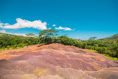 Chamarel seven coloured earth. S. Natural phenomenom in tropical island Mauritius. Seven color of earth stock images