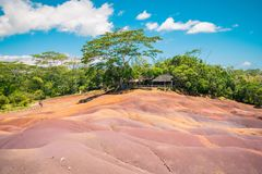 Chamarel seven coloured earth. S. Natural phenomenom in tropical island Mauritius. Seven color of earth royalty free stock photo