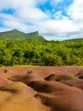 Chamarel Seven Coloured Earths. On Mauritius Island stock photos