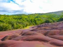 Chamarel Seven Coloured Earths. On Mauritius Island stock image