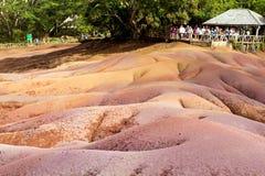 Chamarel sju färgade jordar i den Mauritius ön Royaltyfri Bild