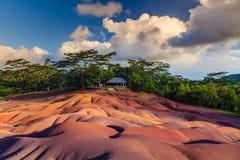Chamarel - sju färgade jordar på den Mauritius ön Royaltyfri Bild