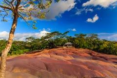 Chamarel - sju färgade jordar på den Mauritius ön Arkivfoto