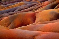 Chamarel sju färgade jordar på Mauritius Arkivfoto