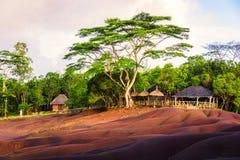 Chamarel sju färgade jordar tätt upp Royaltyfria Foton