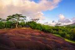 Chamarel sju färgat jordlandskap Arkivbilder
