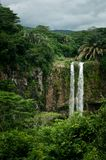 Chamarel Waterfall in the tropical island jungle. Mauritius. Chamarel Waterfall in the tropical island jungle of Mauritius stock photography