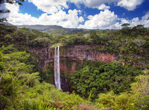 Chamarel waterfalls in Mauritius against the cloudy sky Stock Photo