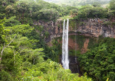 Chamarel waterfalls in Mauritius. Landscape in a sunny day Stock Photos