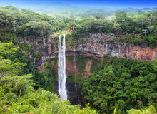 Chamarel waterfalls in Mauritius in a sunny day Stock Photos