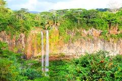 Chamarell falls on Mauritius. Stock Photo