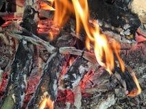 Chamas ardentes de um fogo dos carvões foto de stock