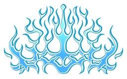 Chamas azuis tribais congeladas do gelo, etiqueta na capa Gr?ficos, vinis & decalques do ve?culo da bicicleta do carro ilustração do vetor