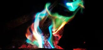 Chamas coloridas do fogo do acampamento Imagem de Stock