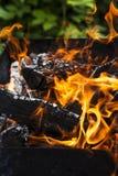 Chamas do fogo do BBQ fotos de stock