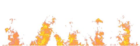 Chamas do fogo real isoladas no fundo branco Modelo em um branco de 5 chamas Imagens de Stock