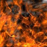 Chamas do fundo do fogo e do fumo Imagem de Stock