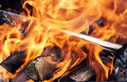 Chamas no fogo Fotografia de Stock