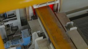 Chamber furnaces for steel. Steel block is sent to a furnace for heating it stock video