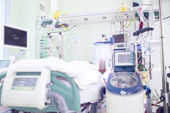 Chamber in intensive care. Unit occupied by seriously ill patients stock images