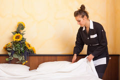 Chamber Maid at Work. In Hotel Room Royalty Free Stock Photo