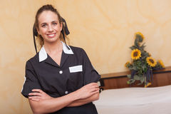 Chamber Maid at Work. In Hotel Room Stock Photos