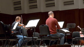Chamber orchestra Moscow Soloists on the rehearsal stock video