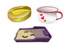 Chamber-pot, a hospital duck, the cat's tray. Toilet subjects - a chamber-pot, a hospital duck, the cat's tray Stock Photo