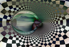 Chamber of Secrets. Image of far off hills overlaid with a checkerboard fractal image Stock Image