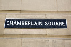 Chamberlain Square Street Sign Royalty Free Stock Image