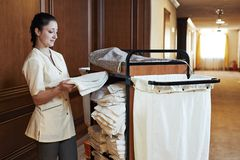 Chambermaid at hotel Royalty Free Stock Photography