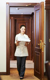 Chambermaid at hotel Royalty Free Stock Photo