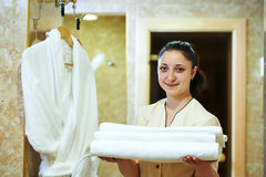 Chambermaid at hotel Stock Photography