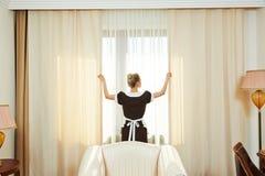 Chambermaid at hotel service Royalty Free Stock Photos