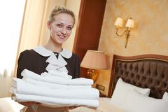 Chambermaid at hotel service Royalty Free Stock Photo