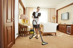 Chambermaid at hotel service Stock Image