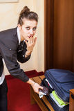 Chambermaid Stealing Money Royalty Free Stock Photo