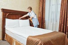 Chambermaid woman at hotel service Royalty Free Stock Photo
