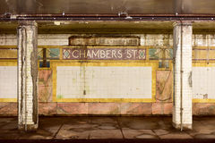 Chambers Street Subway Station - New York City Royalty Free Stock Images