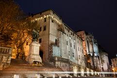 Chambery castle at night. Chambery medieval castle in Savoie Stock Photography