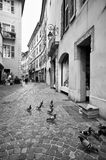 Chambery, France. Black and white image of a street in the old town of Chambery, France Royalty Free Stock Photos