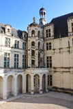 Chambord Castle architecture. One of the interior yard view of the Chambord Castle. A chateau with a specifique architecture, designed by the great Leonardo da Royalty Free Stock Image