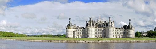 Chambord castle panorama in Loire Valley Royalty Free Stock Images