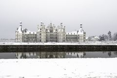Chambord castles under the snow in February, the Loire Valley, France stock photo